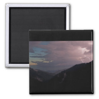 Smoky Mountain Lightning 2 Inch Square Magnet