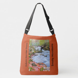 Smoky Mountain Stream  Picture with Fall Colors Crossbody Bag