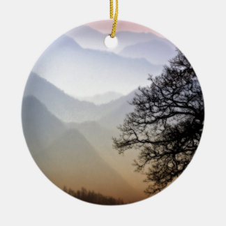 Smoky Mountain Sunset from the Blue Ridge Parkway Ceramic Ornament