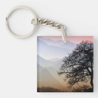 Smoky Mountain Sunset from the Blue Ridge Parkway Double-Sided Square Acrylic Keychain