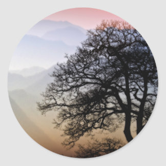 Smoky Mountain Sunset from the Blue Ridge Parkway Round Stickers