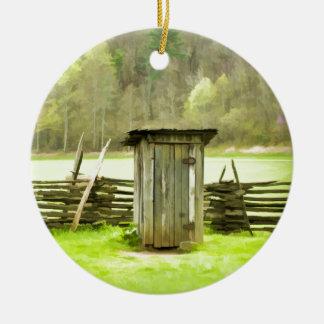 Smoky Mountains Outhouse Ceramic Ornament