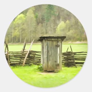 Smoky Mountains Outhouse Classic Round Sticker
