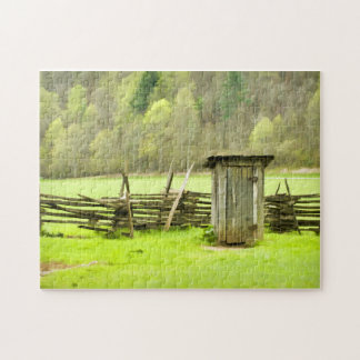 Smoky Mountains Outhouse Jigsaw Puzzle