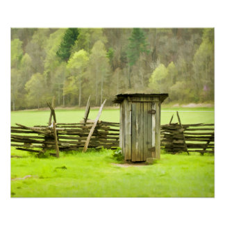 Smoky Mountains Outhouse Poster