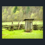 "Smoky Mountains Outhouse Travel Phtography Photo Print<br><div class=""desc"">Travel photography of a vintage outhouse and a split-rail fence in the Great Smoky Mountains National Park.  The beautiful spring green colors accentuate the contrast between the old and the new.</div>"