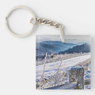 Smoky Mountains - Purchase Knob Winter Scenic View Keychain