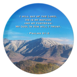 Smoky Mountains Tennessee Bible Psalms 91:2 Melamine Plate
