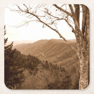 Smoky Mountains Tennessee Clingmans Dome Square Paper Coaster