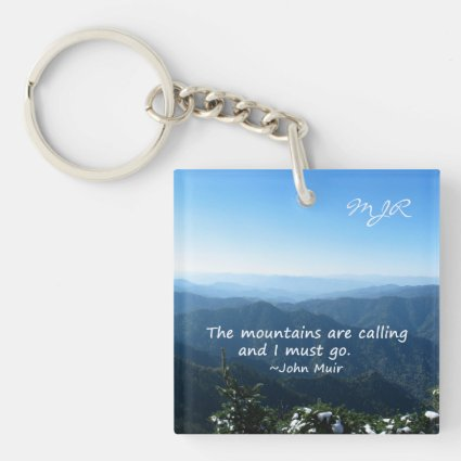 Smoky Mountains w/snow Mtns calling Template Acrylic Keychain