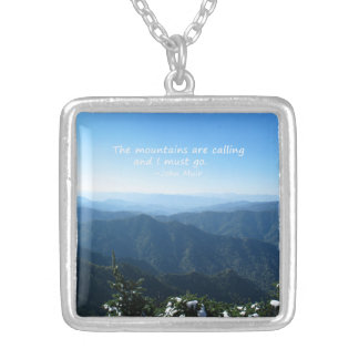 Smoky Mountains w/snow Mtns calling Template Personalized Necklace