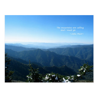 Smoky Mtns w/snow: Mtns are calling...John Muir Postcard