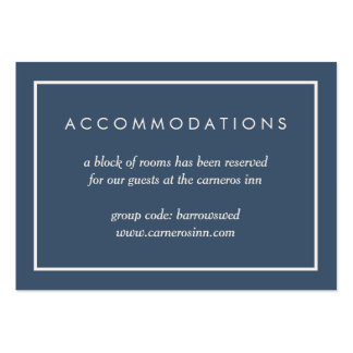 Smoky Navy and Cream Hotel Accommodation Cards