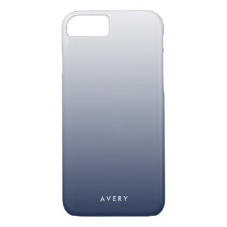Smoky Navy & Gray Gradient Ombre Personalized iPhone 7 Case