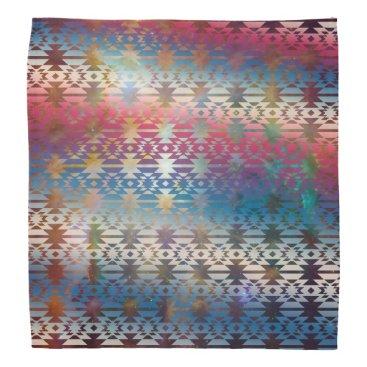 Aztec Themed Smoky Pastel Aztec Night Sky stars pink blue mauve Bandana