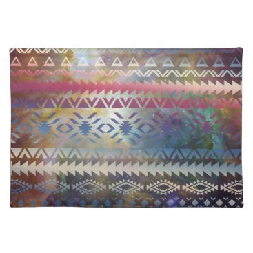 Aztec Themed Smoky Pastel Aztec Night Sky stars pink blue mauve Cloth Placemat