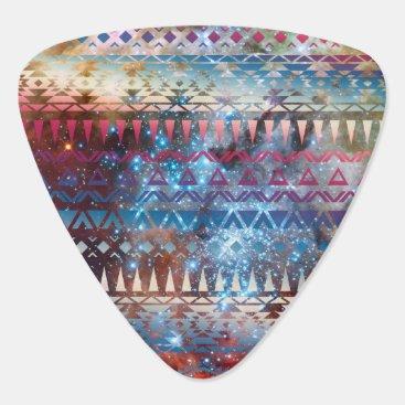 Aztec Themed Smoky Pastel Aztec Night Sky stars pink blue mauve Guitar Pick