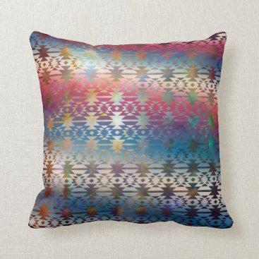 Aztec Themed Smoky Pastel Aztec Night Sky stars pink blue mauve Throw Pillow