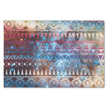 Aztec Themed Smoky Pastel Aztec Night Sky stars pink blue mauve Tissue Paper