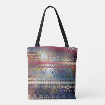 Aztec Themed Smoky Pastel Aztec Night Sky stars pink blue mauve Tote Bag