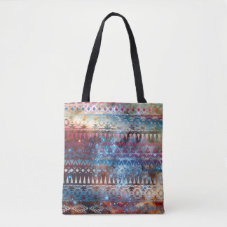 Smoky Pastel Aztec Night Sky stars pink blue mauve Tote Bag