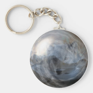 Smoky Wolf in Crystal Ball Key Chain