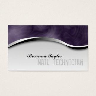 Smoky Zebra Print Purple Manicurist Business Card