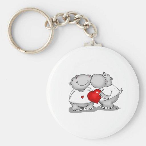 Smooch - Hippo Kiss Valentine's Day Basic Round Button Keychain
