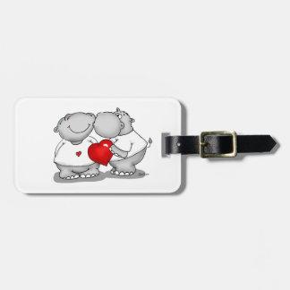 Smooch - Hippo Kiss Valentine's Day Travel Bag Tags