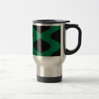 Smooch negro y verde taza de viaje de acero inoxidable