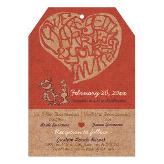 Smooches Wedding Invitation - Rustic Red Personalized Invitations