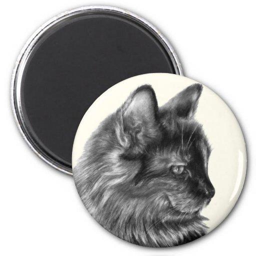 Smooschie, gato de pelo largo de la concha imán para frigorífico