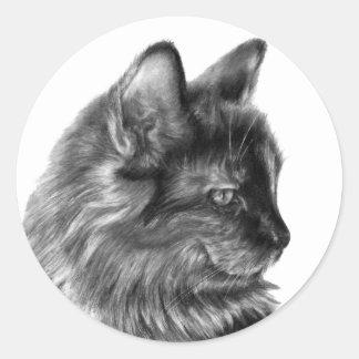 Smooschie, Long-Haired Tortoise-Shell Cat Classic Round Sticker
