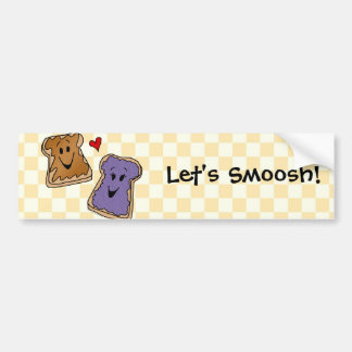 Smoosh, Peanut Butter Jelly Cartoon Bumper Sticker