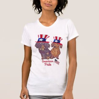 Smooth And Long Haired Dachshund American Pride T Shirt