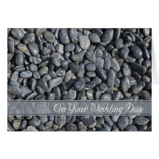 Smooth Black Pebbles Blended Family Wedding Card