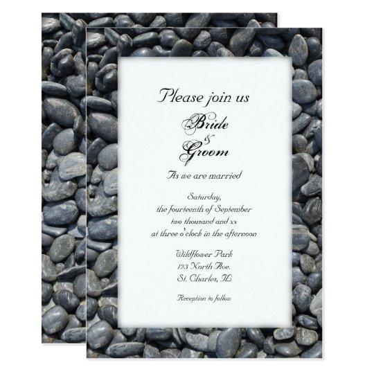 Smooth Black Pebbles Wedding Invitation
