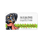 Smooth Black Tan Dachshund Christmas Personalized Address Labels