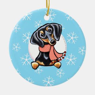 Smooth Black Tan Dachshund Let it Snow Christmas Ornament