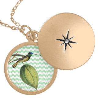 Smooth botanical Colibrí and chevron green Locket Necklace