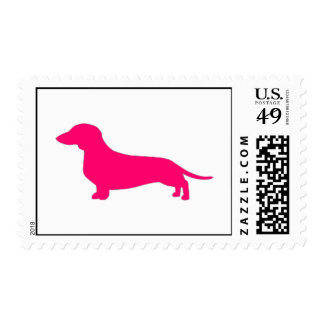 Smooth coat Pink Dachshund Stamp