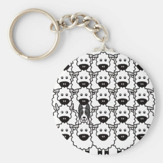Smooth-Coated Border Collie in the Sheep Basic Round Button Keychain