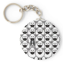 Smooth-Coated Border Collie in the Sheep Keychain