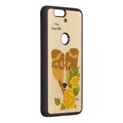 Carved ® Google Nexus 6p Bumper Wood Case with Collie Phone Cases design
