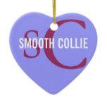 Smooth Collie Breed Monogram Ceramic Ornament