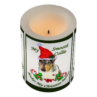Smooth Collie Christmas Merry Flameless Candle