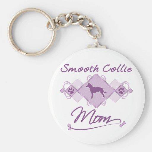 Smooth Collie Mom Basic Round Button Keychain