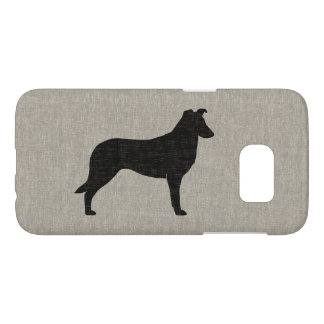 Smooth Collie Silhouette Faux Linen Style Samsung Galaxy S7 Case