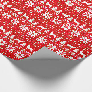 Smooth Collie Silhouettes Christmas Pattern Red Wrapping Paper