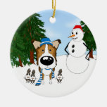 Smooth Collie Winter Scene Double-Sided Ceramic Round Christmas Ornament